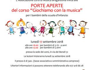 """PORTE APERTE DEL CORSO """"GIOCHIAMO CON LA MUSICA"""".. VIENI A CONOSCERCI!"""