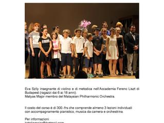 Settimana musicale all'Associazione Corsi di Musica Breganzona e al Conservatorio