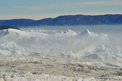 Greenland glacier meets sea