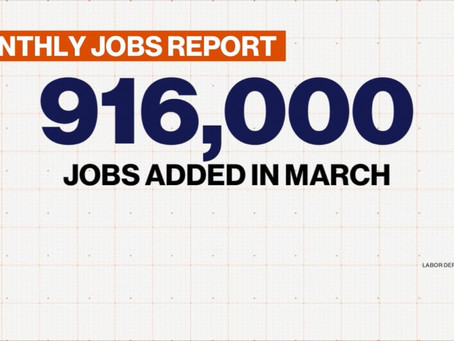 916,000 U.S. jobs added in March
