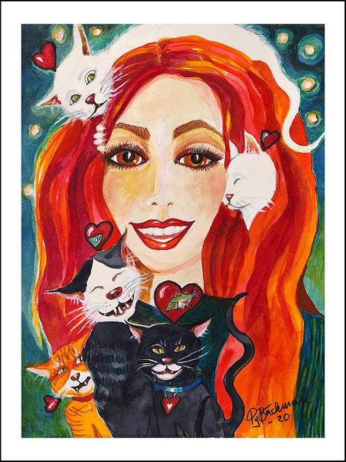 Mitzi - Akvarelltryck 30 x 40 cm