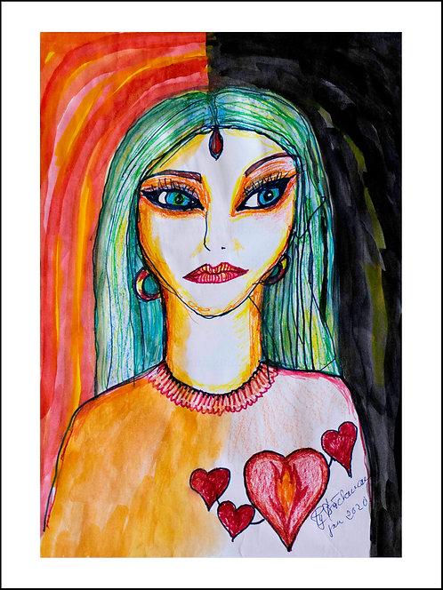 Cat woman - Akvarelltryck 30 x 40