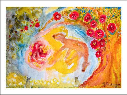 Resa mot solen - Akvarelltryck 30 x 40 cm