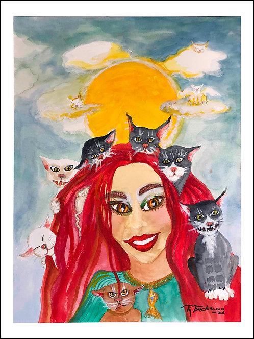 Solkatter - Akvarelltryck 30 x 40 cm