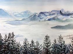 Nebelmeer Aquarell