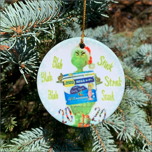 GRINCH PORCELAIN ORANAMENT 3 INCHESROUND