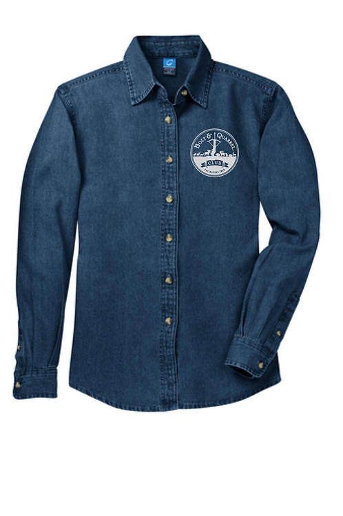 LADIES DENIM SHIRT WITH BOLT AND QUARREL EMBROIDERED