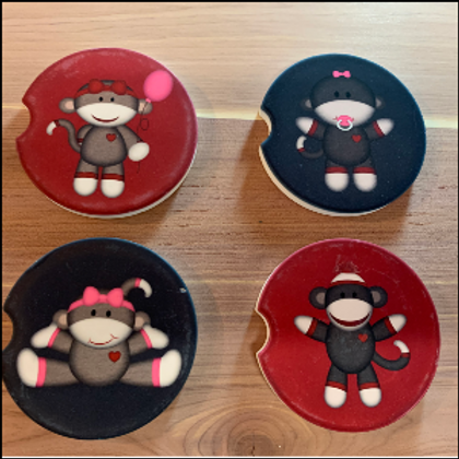 SOCK MONKEY CAR COASTERS SET OF 4