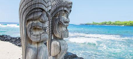 Ancient Polynesian style tiki wooden car