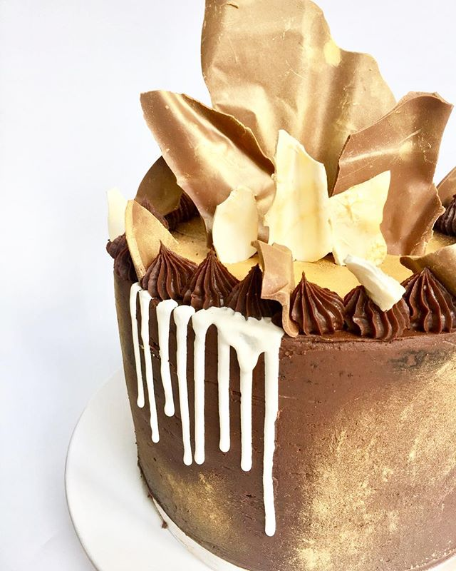 Chocolate cake with chocolate shard decoration
