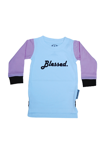 Kids L/S White 'Blessed' Tee