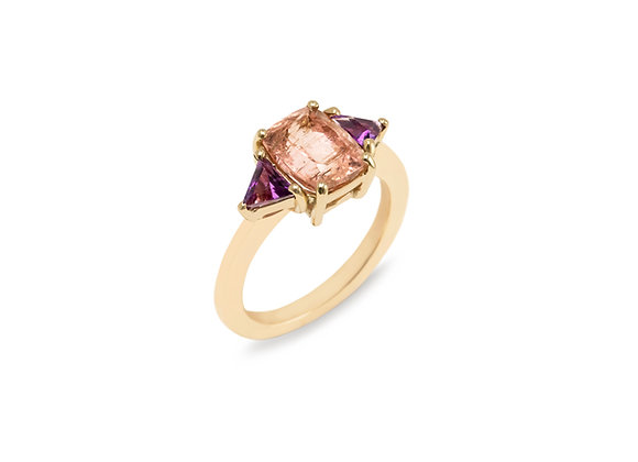 Pink Tourmaline and Amethyst Trilogy ring in 9ct Yellow Gold