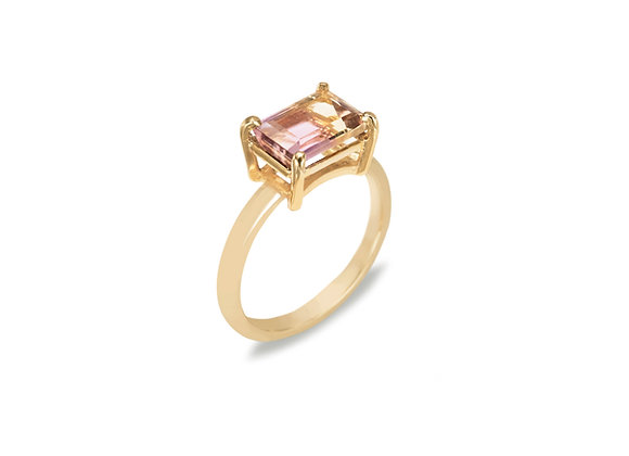9ct yellow gold ametrine ring