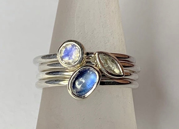 White sapphire, Kyanite and rainbow moonstone stacking rings