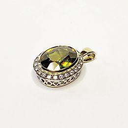 Handmade gold sphene titanite pendant