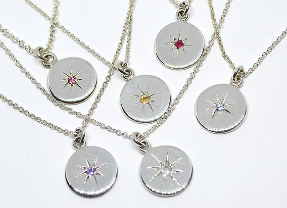 Mini moon star set gemstone necklaces sterling silver