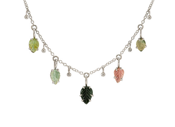 Hand Carved Tourmaline and Diamond Necklace