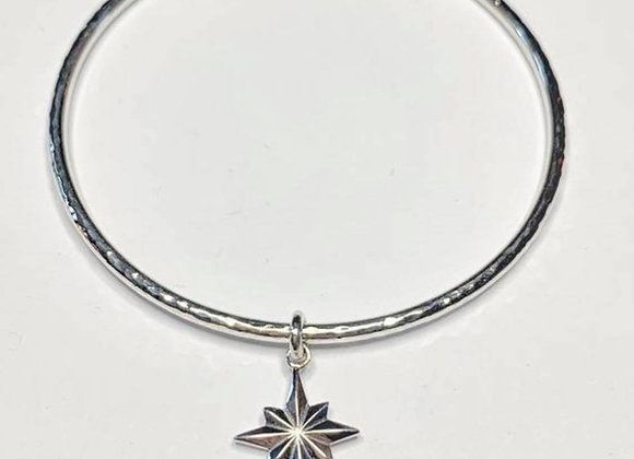 North star stacking bangle with hammered finish