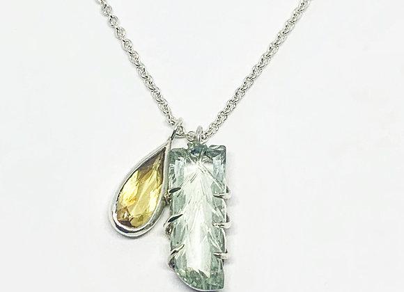Hand carved Prasiolite and Heliodor pendant