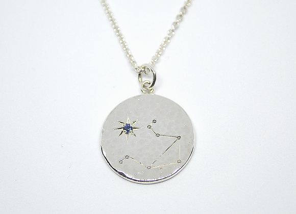 Libra Constellation pendant set with a sapphire birthstone