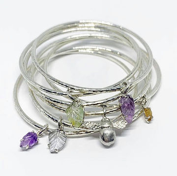 Sterling silver handmade floral bangles