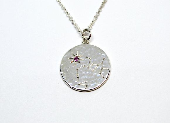 Sagittarius constellation pendant with pink tourmaline birthstone
