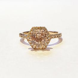 Handmade gold pink sapphire diamond ring