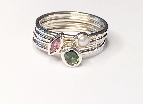Tourmaline and pearl stacking rings