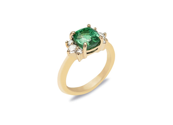 9ct Forest Green Tourmaline and Diamond Ring