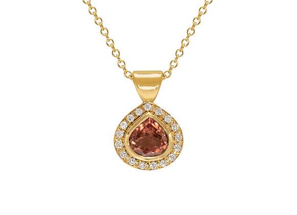 18ct Pink Tourmaline diamond halo pendant