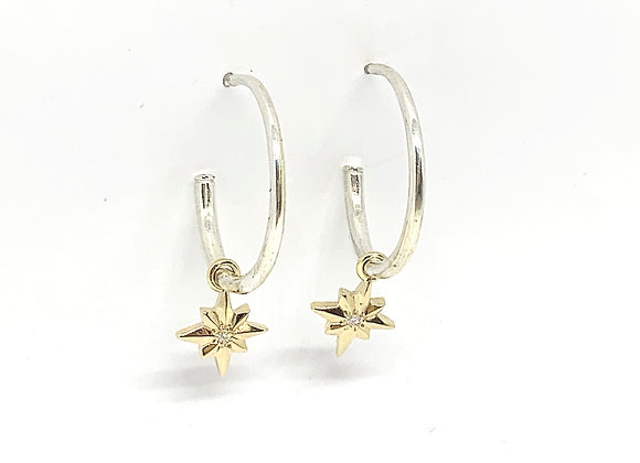 Silver and 9ct gold hoop earrings with diamonds