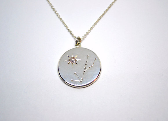 Taurus constellation pendant with rose quartz birthstone