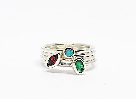 Garnet, Emerald and opal stacking rings