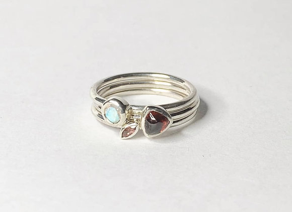 Garnet and Moonstone trio of stacking rings
