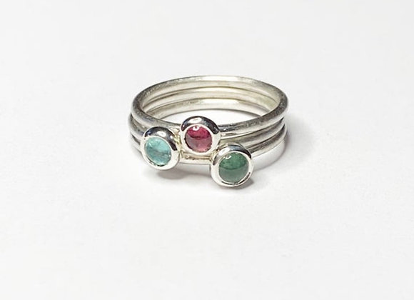 Pink, blue and green stacking rings in sterling silver