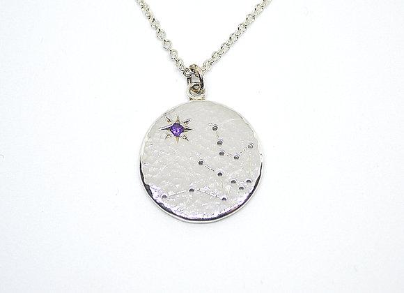 Aquarius constellation pendant with amethyst birthstone