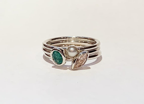 Rose quartz, Emerald and pearl trio of stacking rings