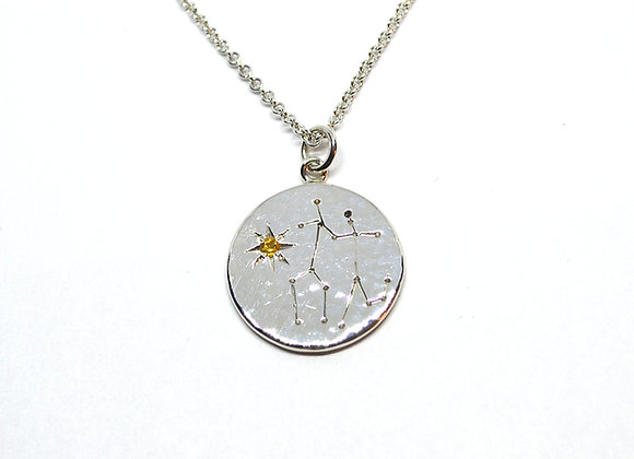 Gemini constellation pendant with citrine birthstone
