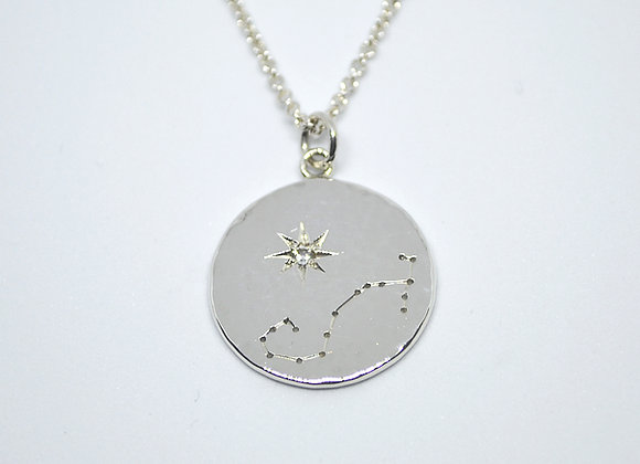 Scorpio constellation pendant with white topaz birthstone