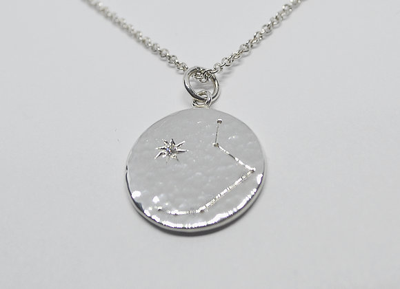 Aries constellation pendant with a diamond birthstone