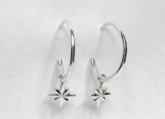 North star hoop earrings sterling silver