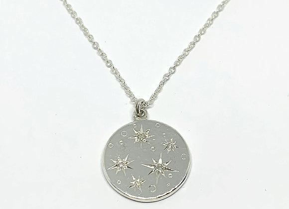 Moon and Star diamond set pendant