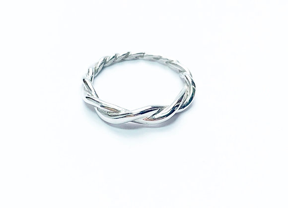 Handmade tapered twisted ring in medieval style sterling silver