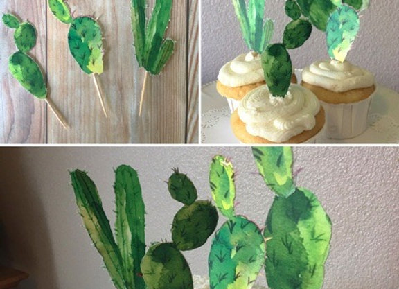Cactus Cake and Cupcake Toppers