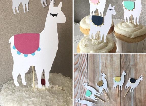 Custom Llama Cupcake Toppers and Cake Topper