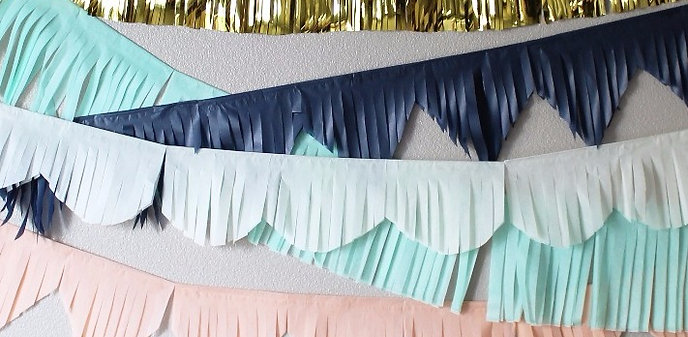 Custom 6 inch wide Fringed Banners