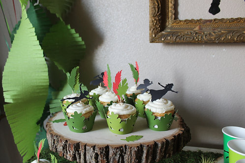 Peter Pan Silhouette and Leaf Toppers