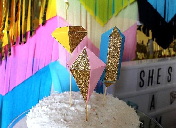 3D Gem Cake Topper Set