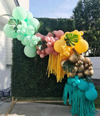 12 foot garland with greenery and fringe