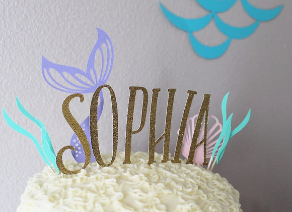 Custom Mermaid Cake Topper Set